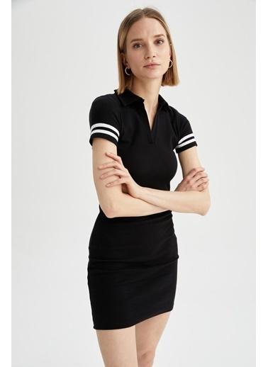 DeFacto Polo Yaja Kısa Kol Örme Elbise Siyah